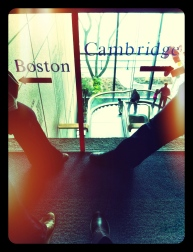 One foot in Cambridge, one foot in Boston.