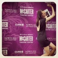 That moment when you think it'd be fun to pretend that the Gala backdrop is going to fall on you...